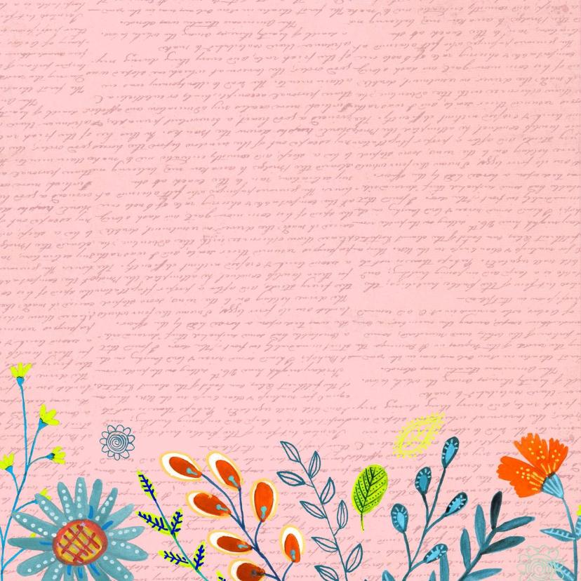 Happy Birthday Bloempjes roze 2