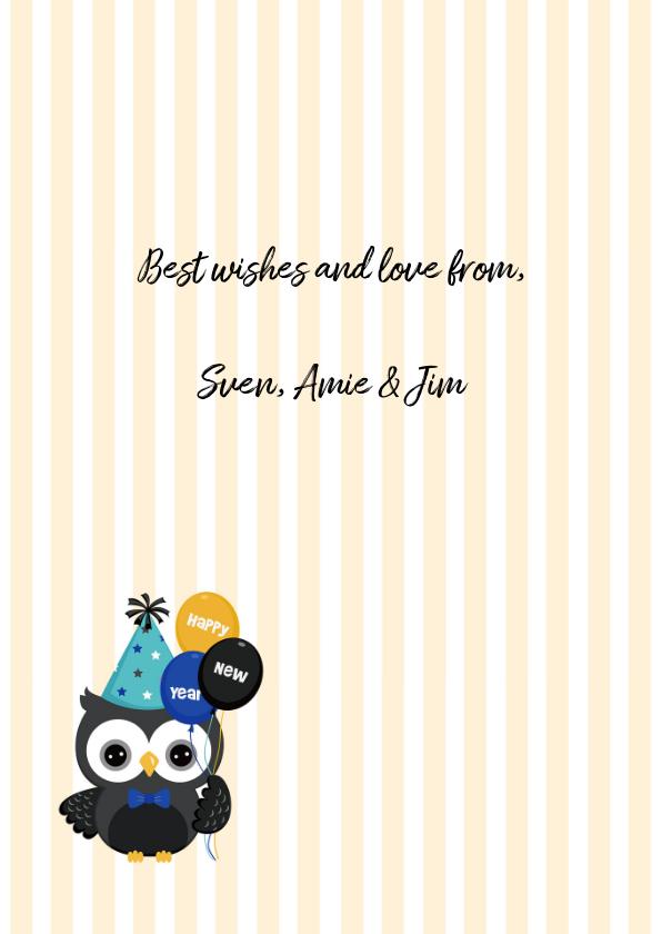 Happy New Year met feest-uil 3