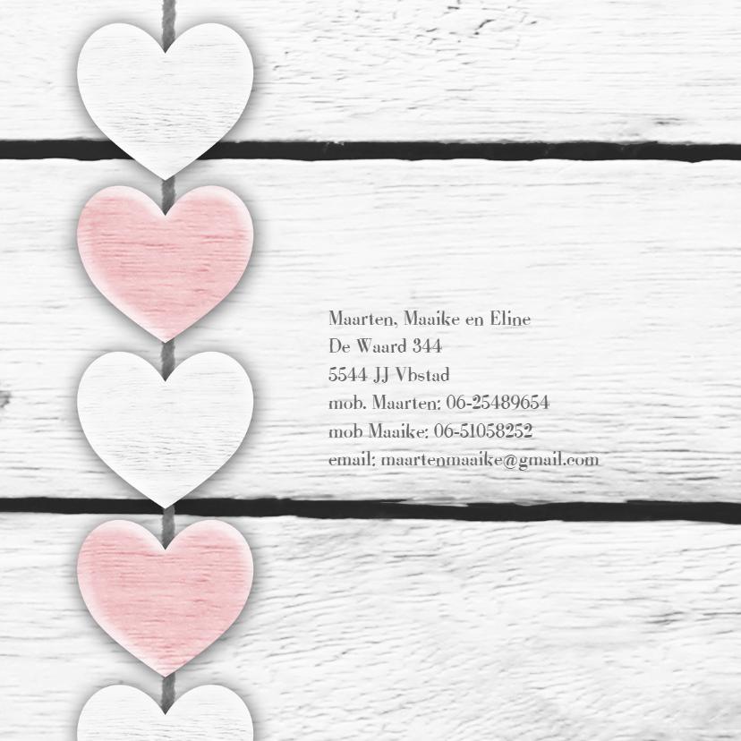 Harten roze tekst houtprint 2