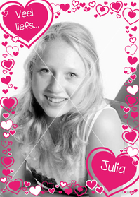 HARTJES Fotokaart met roze hartjes