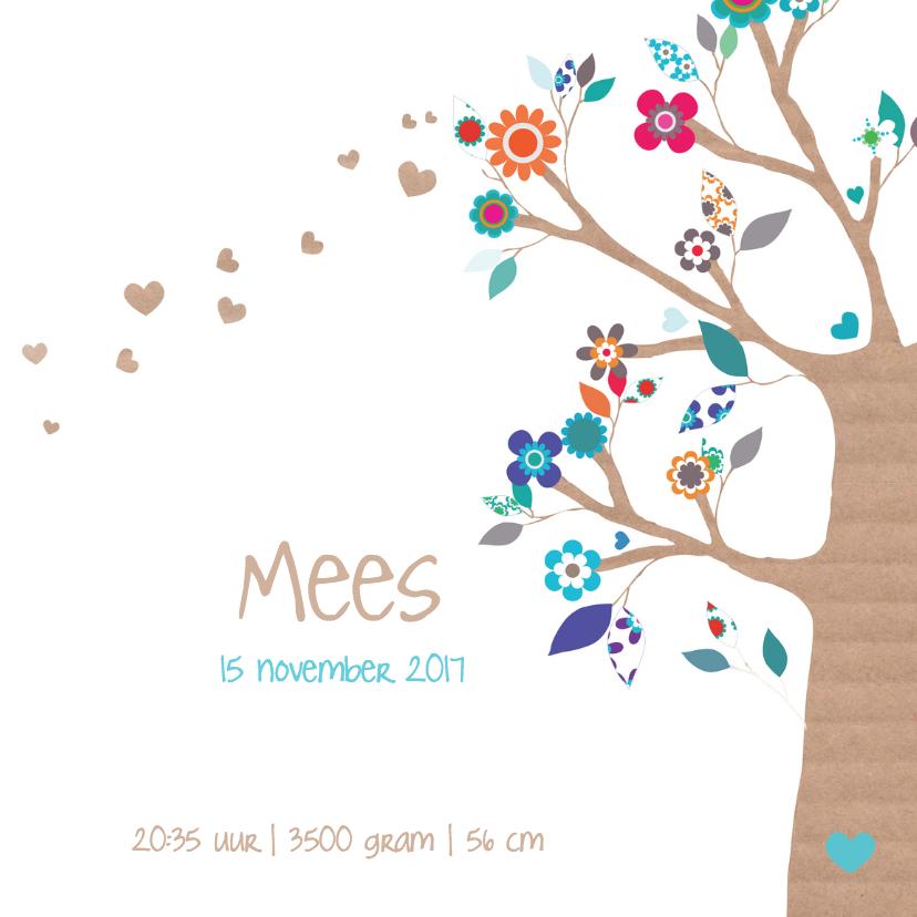 Hartjesboom geboortekaartje Mees 3