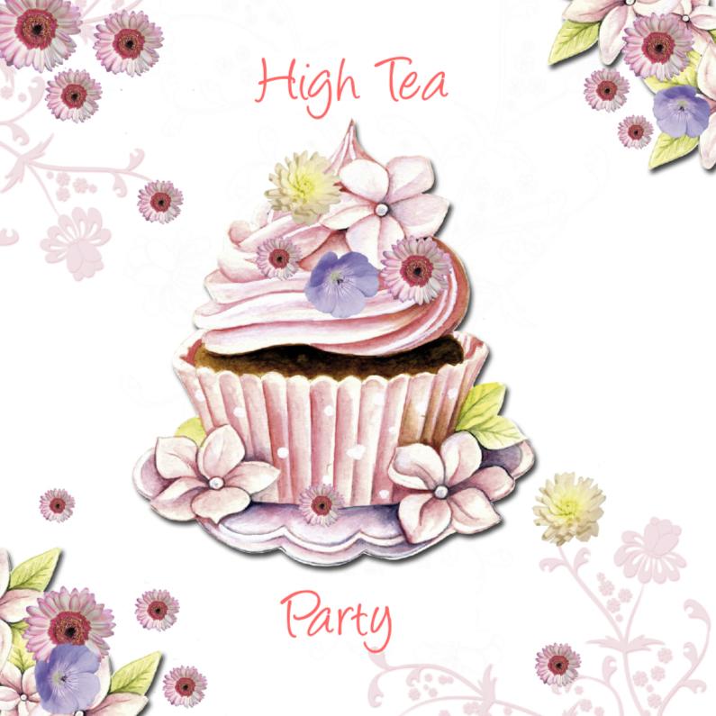 New high Tea met cupcake bloemen - Uitnodigingen | Kaartje2go @SH61