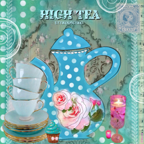 Uitnodigingen - High Tea party stippen blauw