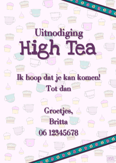 High Tea uitnodiging PARTY GIRLS 3
