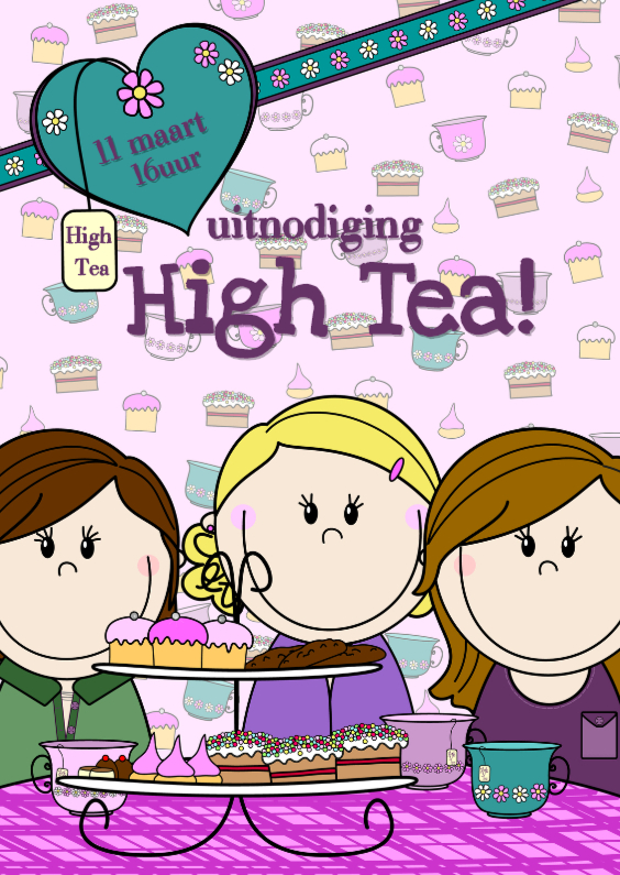 Bekend High Tea uitnodiging PARTY GIRLS | Kaartje2go @BL88