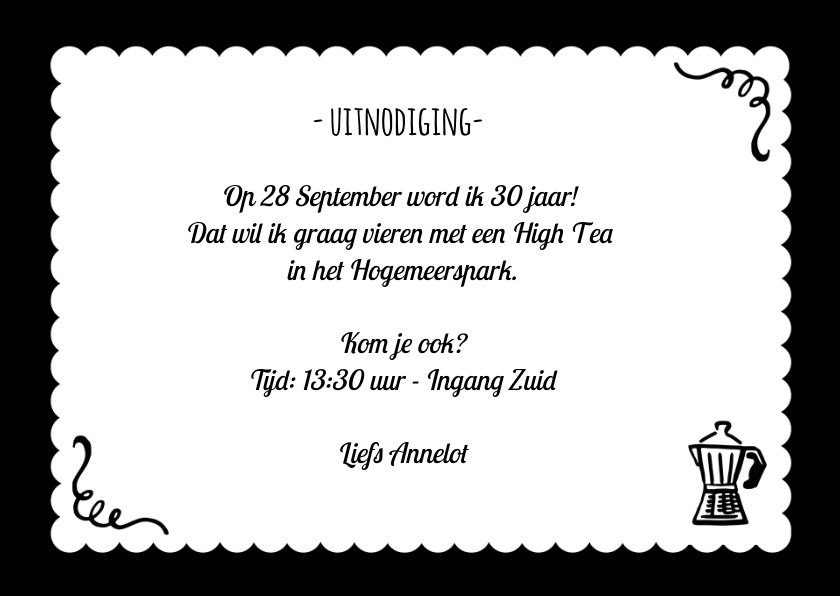 High Tea Uitnodiging Zwart Wit 3
