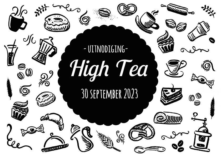 Geliefde High Tea Uitnodiging Zwart Wit - Uitnodigingen | Kaartje2go #PH28