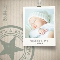 Geboortekaartjes - Hip geboortekaartje jongen groen
