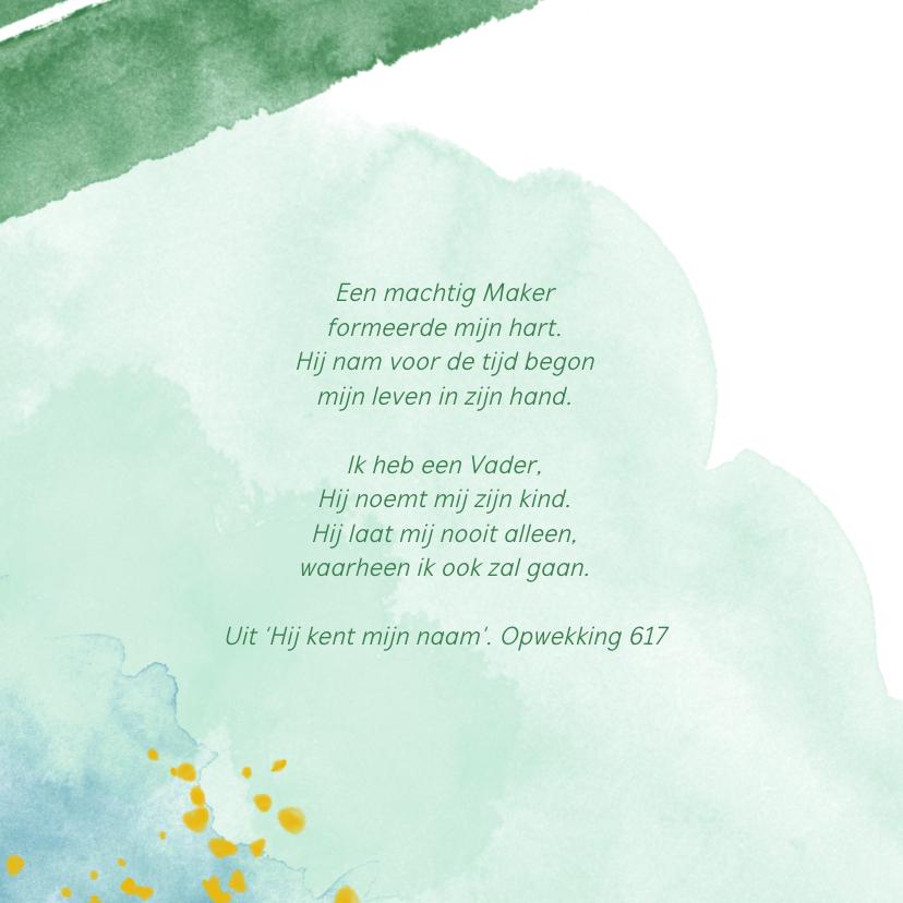 Hip geboortekaartje jongen waterverf groen 2