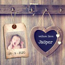 Geboortekaartjes - hip geboortekaartje met krijtbord