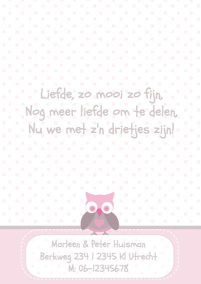 Hip geboortekaartje Uil Sophie 2