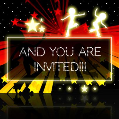 hip retro dance party invitation! 2