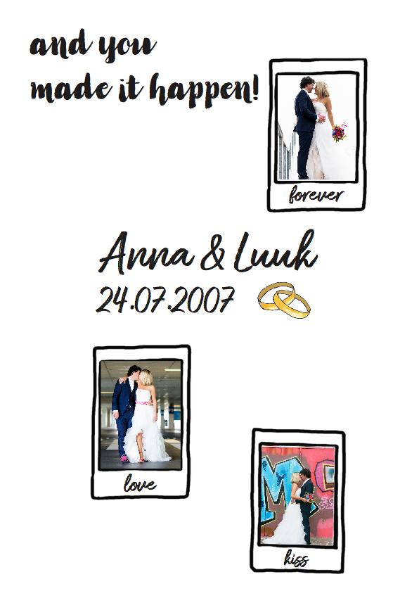 Hippe bedank kaart voor trouwdag met camera en foto's 3