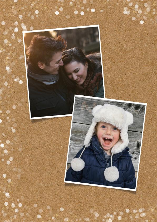 Hippe kerstkaart met grote eigen foto en confetti kader  2