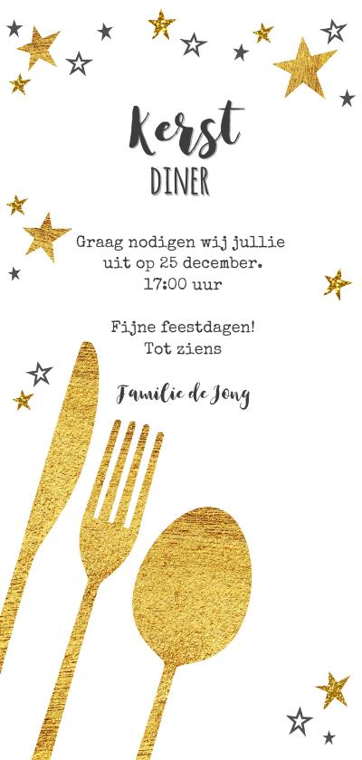 Hippe uitnodiging (kerst) diner bestek goud sterren achterkant