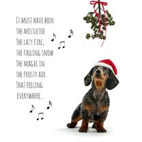 Kerstkaarten - Hond onder de maretak-isf