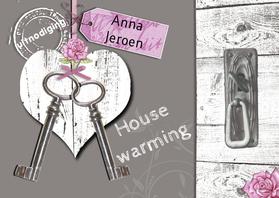 Uitnodigingen - housewarming hart sleutels