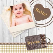 Geboortekaartjes - Hout met label adoptie - BK