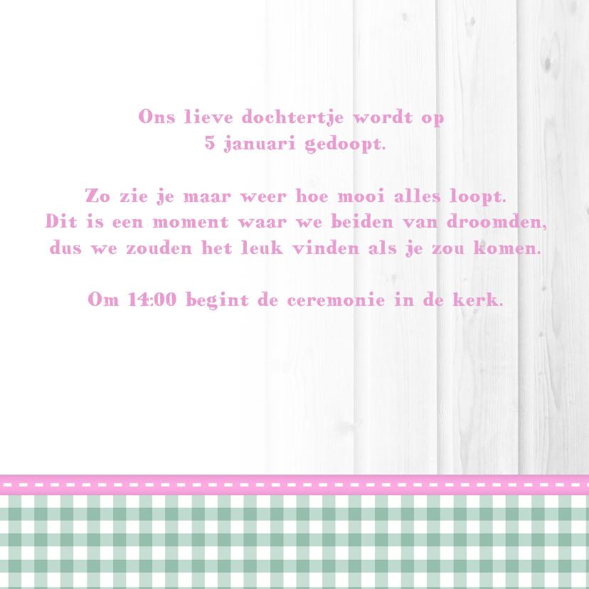 Hout met Label doop roze - BK 3