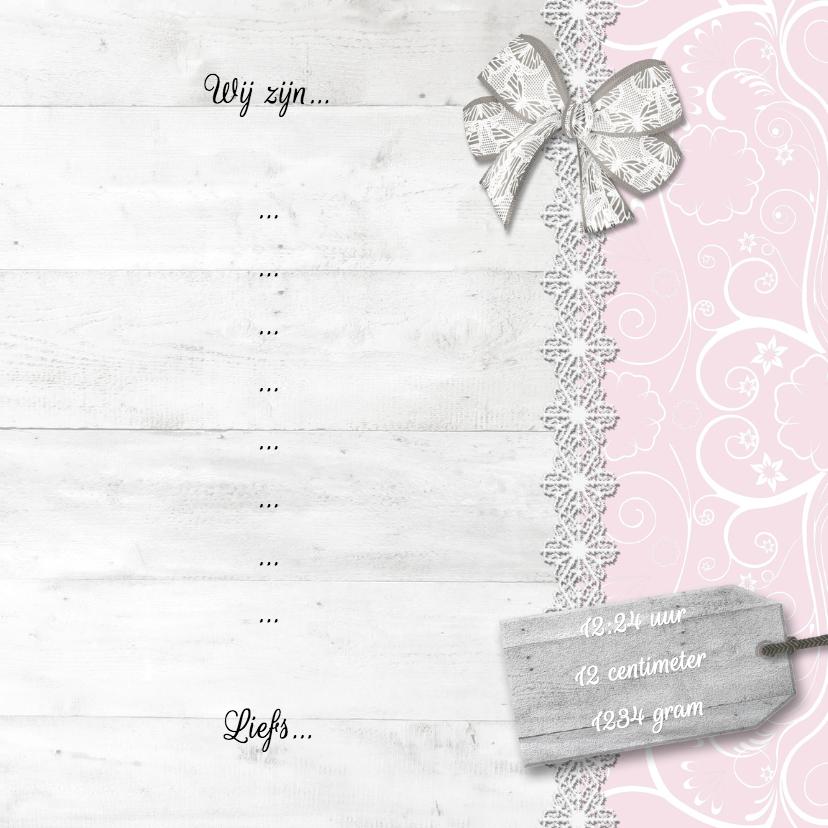 Hout met label roze meisje - BK 3