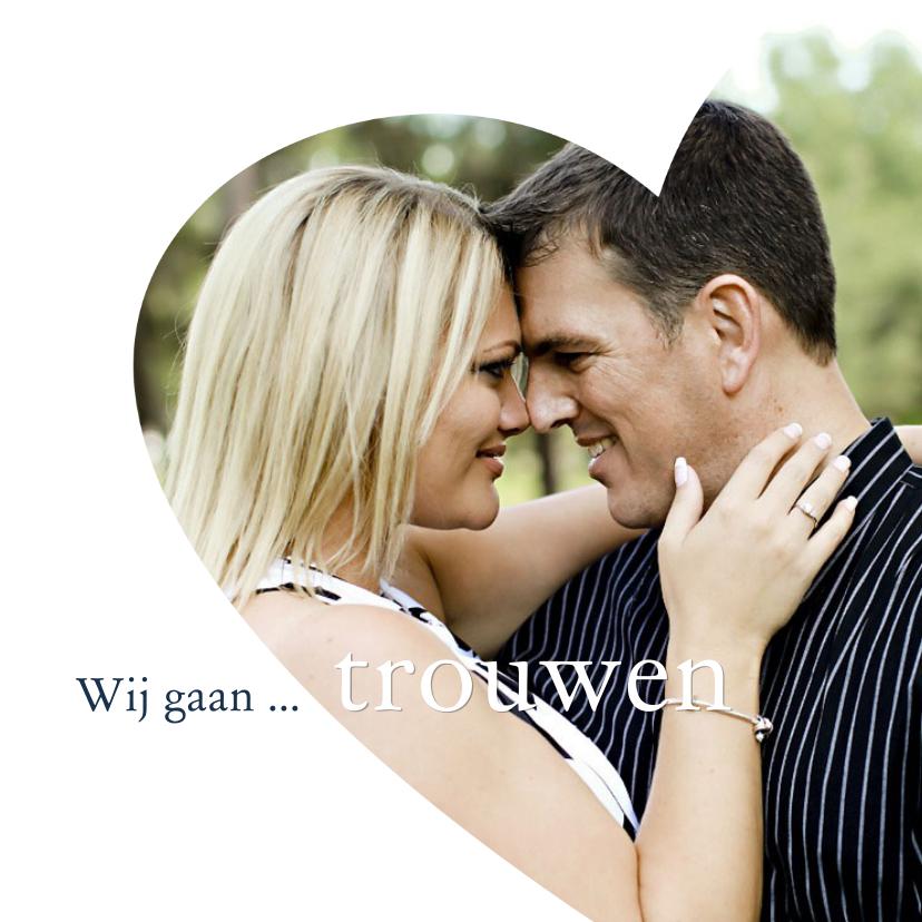 Huwelijk foto in hart trouwkaarten kaartje go