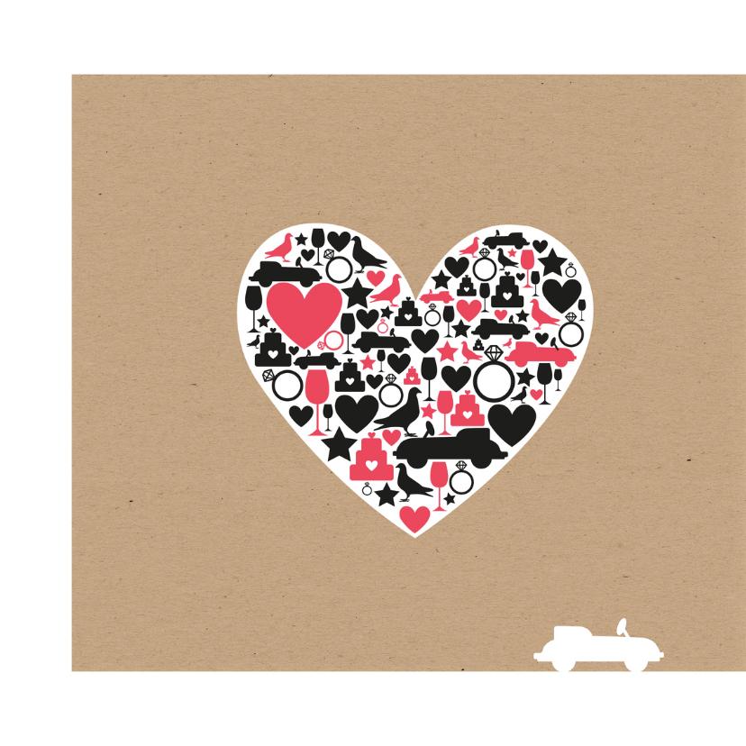 Huwelijk - Groot hart met silhouetten 2