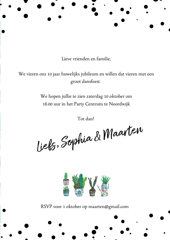 Huwelijksjubileum cactus uitnodiging 3