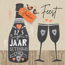 Jubileumkaarten - Huwelijksjubileum fles chalkbord