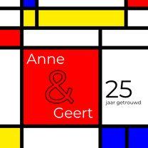 Jubileumkaarten - Huwelijksjubileum Mondriaan