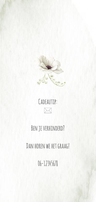 Huwelijksjubileum witte rozen-anemonen achterkant
