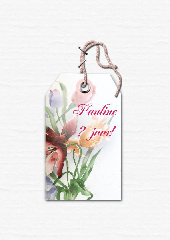 Jarig bloemen en naamkaartje b 2
