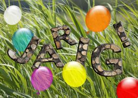 Verjaardagskaarten - jarig houten letters en ballonnen