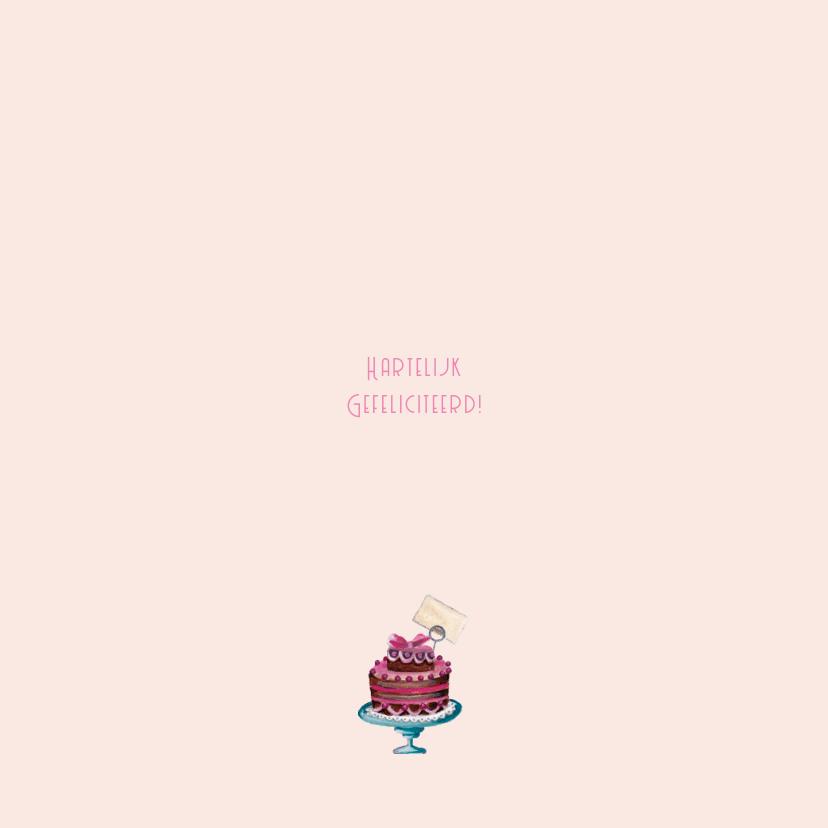 Jarig Roze Ruitje Cupcake Vlinder Hart 3