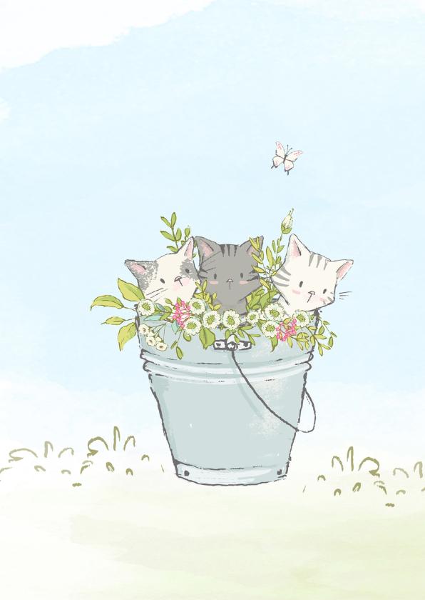 Jarigkaart met kittens en bloemen 2