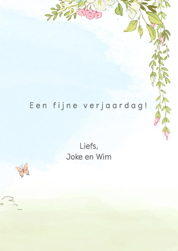 Jarigkaart met kittens en bloemen 3