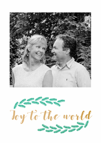 Kerstkaarten - Joy to the world met foto's