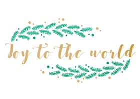 Kerstkaarten - Joy to the world met hulst