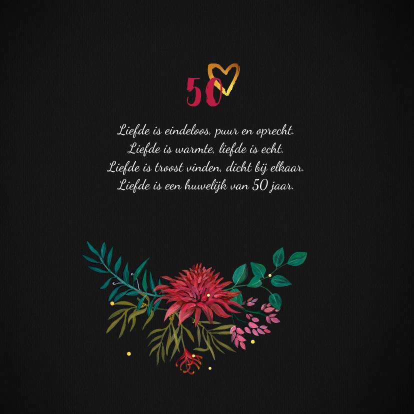 Jubileum 50 jaar stijlvol met handgeschilderde bloemen 2