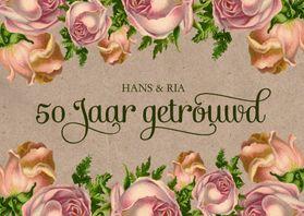 Jubileumkaarten - Jubileum 50 vintage rozen
