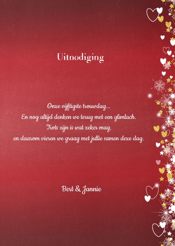 Jubileum trouwdag stijlvolle rode foto uitnodiging 3