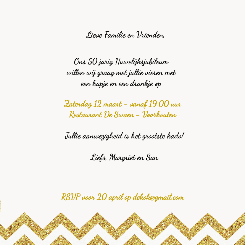 Jubileum uitnodiging chevron goud 3