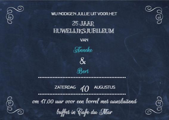 Jubileum Uitnodiging Schoolbord 3