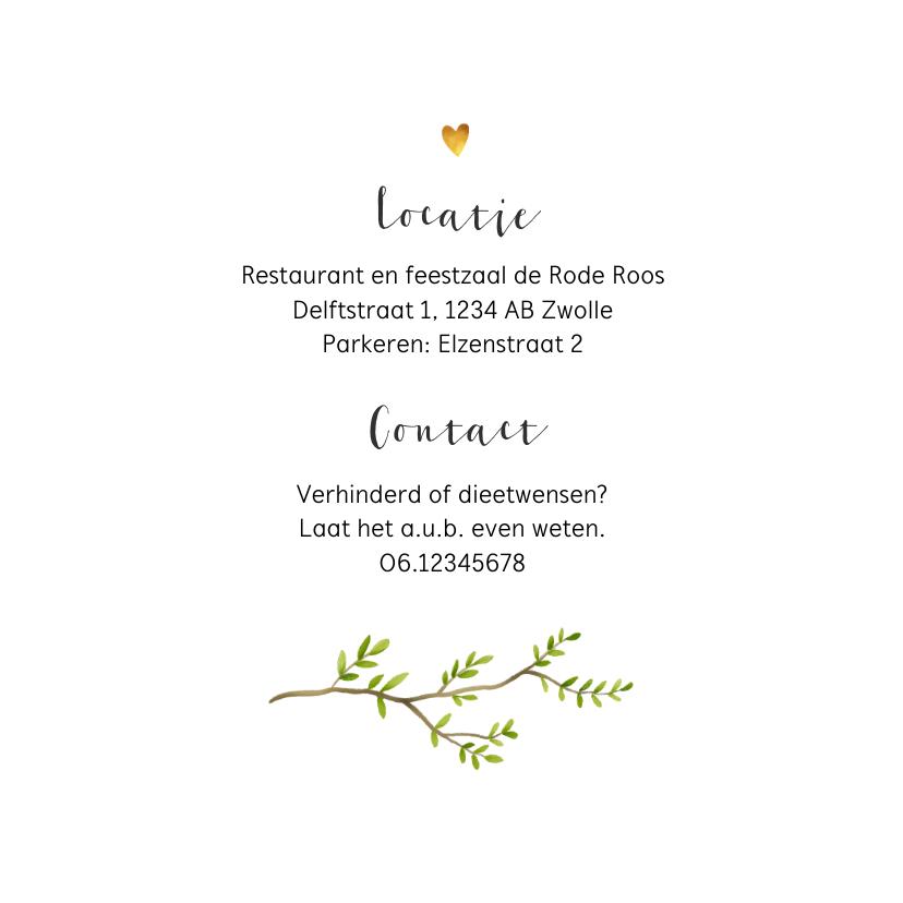 Jubileum uitnodiging stijlvol met botanisch hart 2