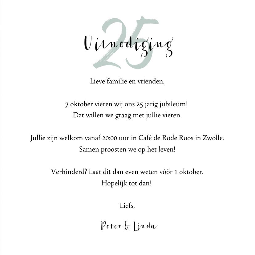 Jubileumkaart 25 jaar huwelijk groen stijlvol en hip 3