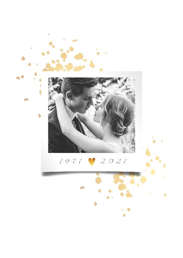 Jubileumkaart 50 jaar huwelijk goudlook klassiek 2