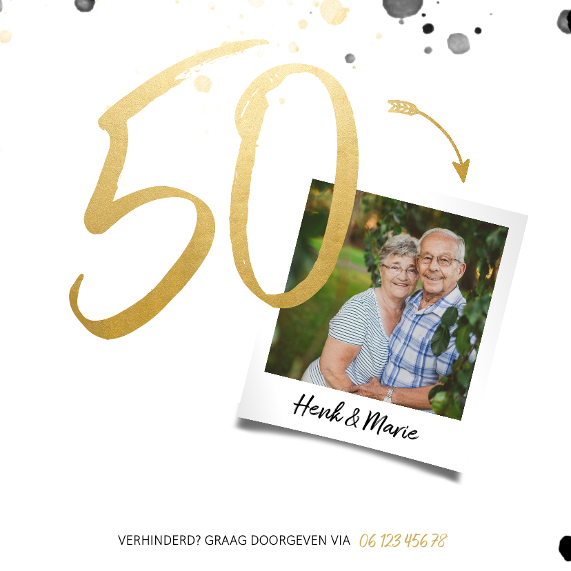 Jubileumkaart '50' met spetters en foto 2