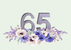 Jubileumkaarten - Jubileumkaart anemonen 65 jaar