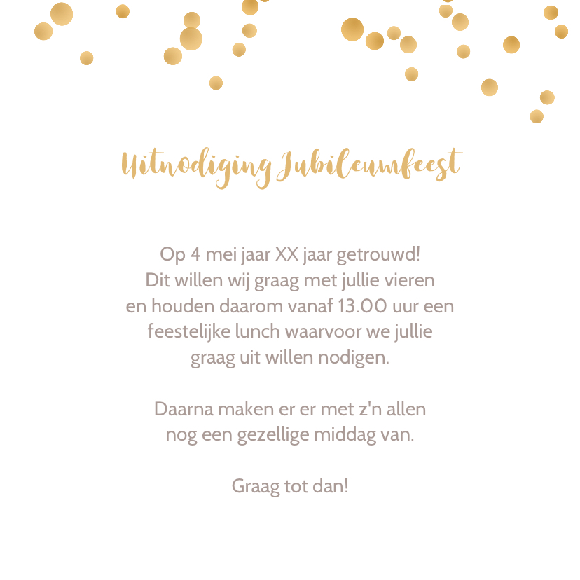 Jubileumkaart barok met confetti 3