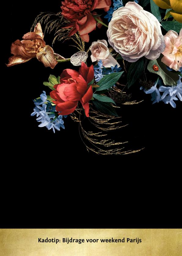 Jubileumkaart bloemen oude meesters met goud 2