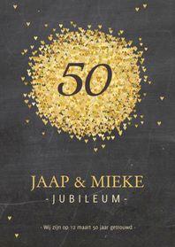 Uitnodigingen - Jubileumkaart goud hartjes av